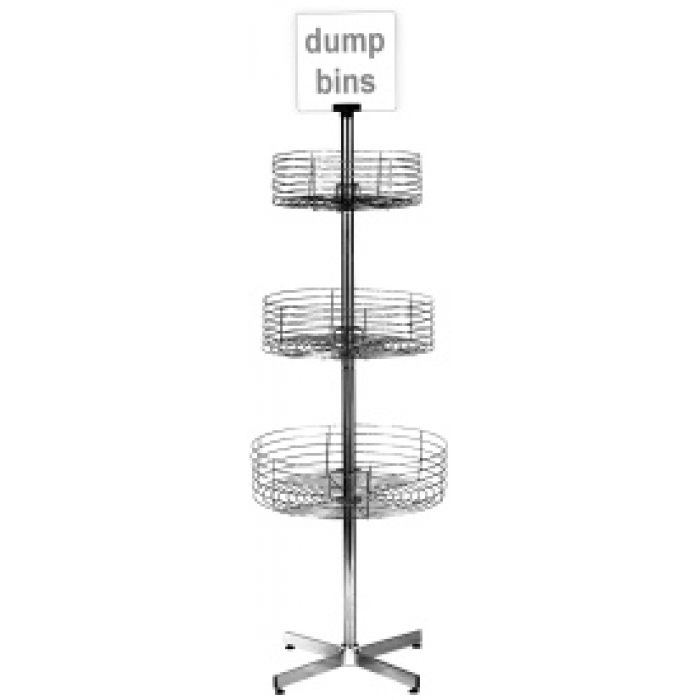 3-Basket Revolving Dump Bin Floor Display Rack