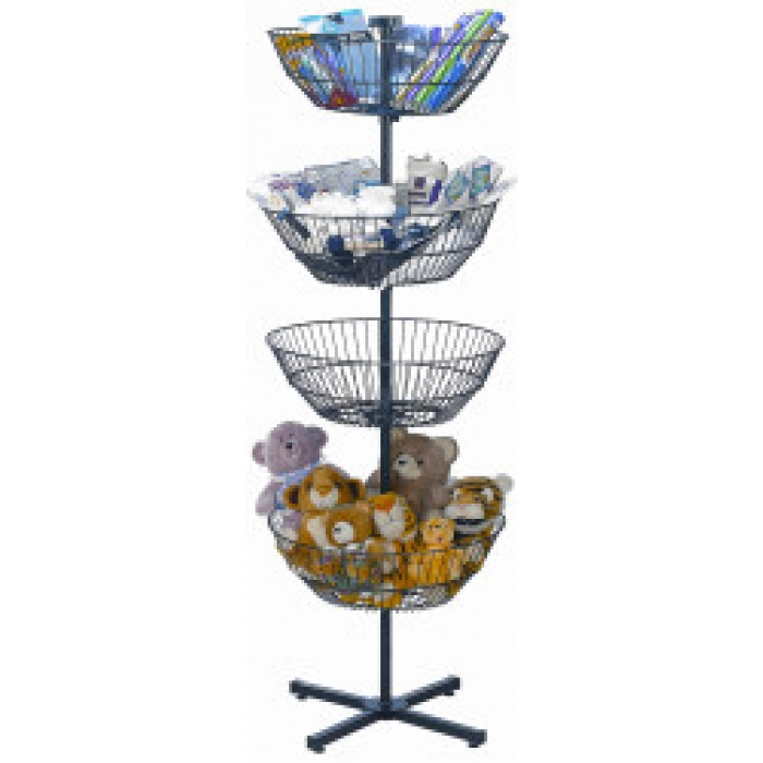 "Dump Bin Floor Display with Four 22"" Diameter Spinner Baskets"