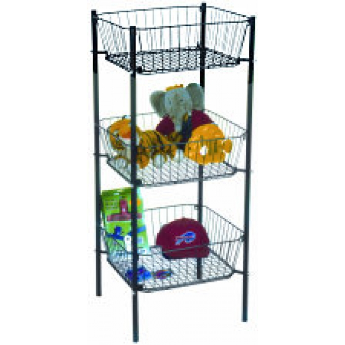 "3-Tier Dump Bin with 19"" x 19"" Square Wire Baskets (Black)"