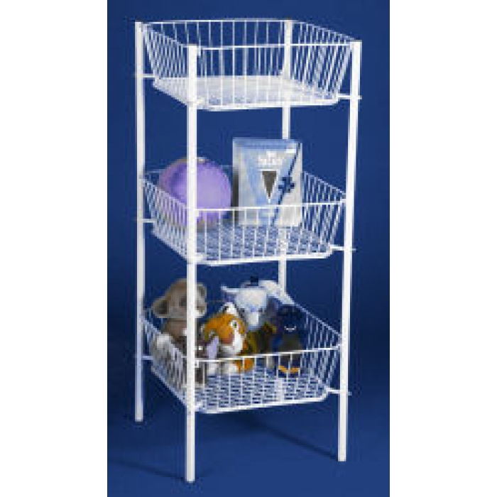 "3-Tier Dump Bin with 19"" x 19"" Square Wire Baskets (White)"