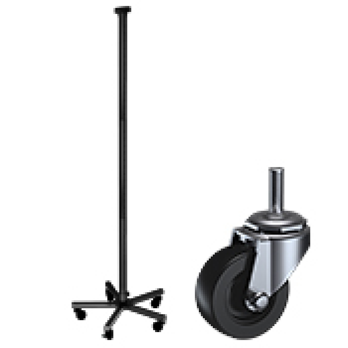 Heavy-Duty 5-Leg Steel Floor Base with Casters & Display Tubes