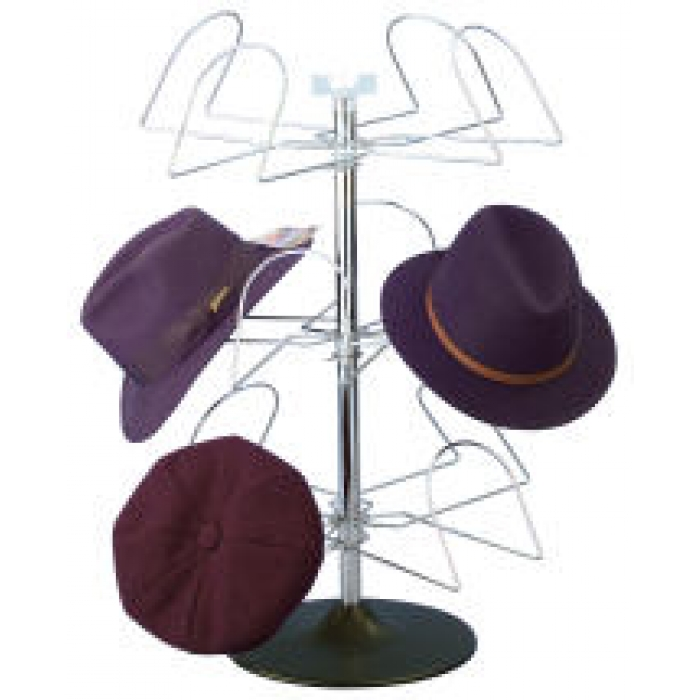 12-Hat Men's Countertop Display Spinner Rack