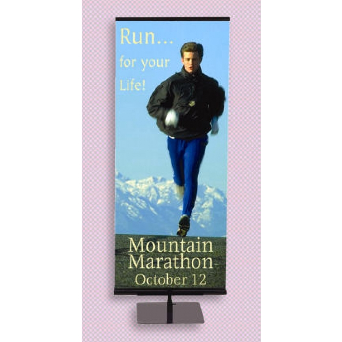 "Floor Banner Stand for 24"" Graphics, Adjustable Height (Black)"