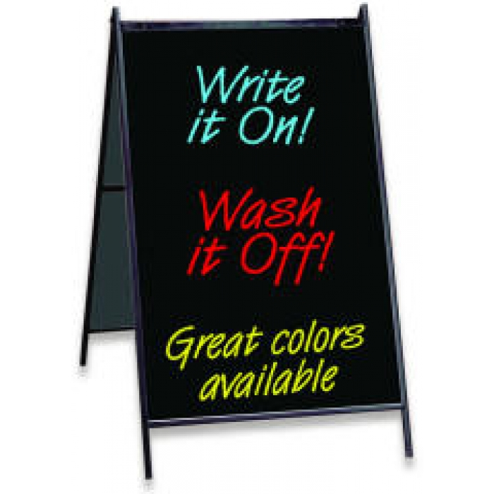 "Eraseable Message Board A-frame with 24"" x 36"" Black Sign Panels and Markers"