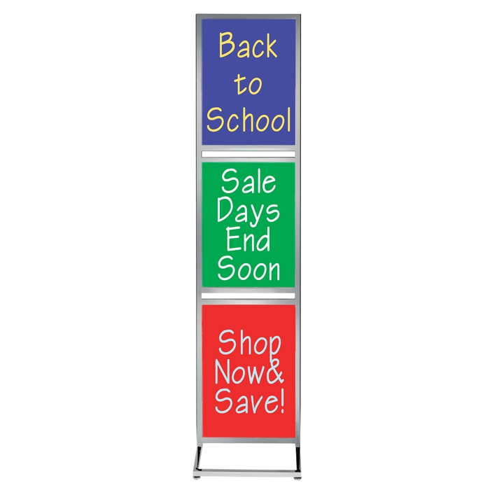 "Bulletin Sign Stand with Three 22"" x 28"" Poster Frames (Chrome)"