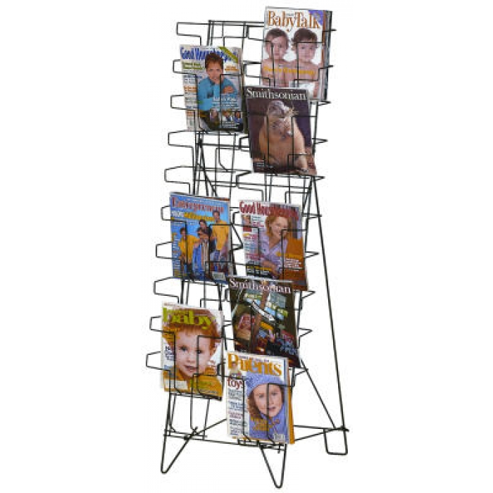 20-Pocket Fold-Flat Magazine/Literature Floor Literature Display Rack