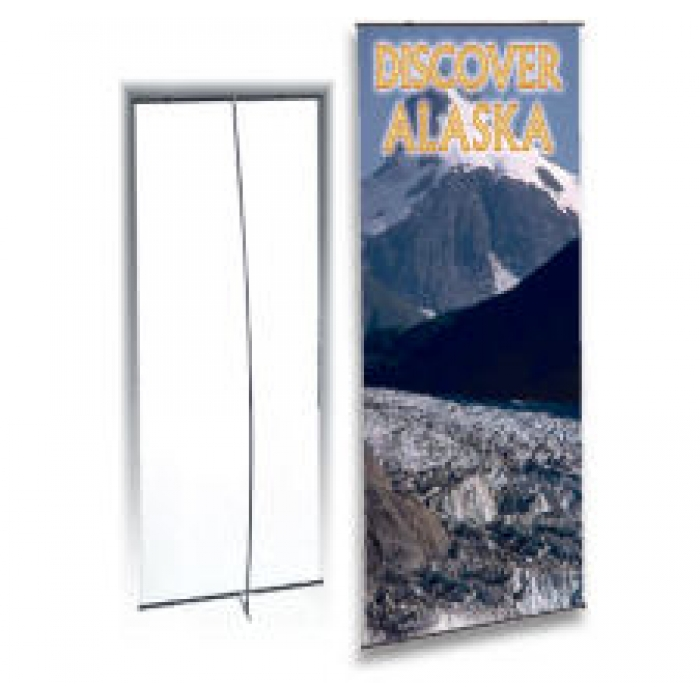 "Portable Display Stand for 24"" x 72"" Banners, with Case (Black)"