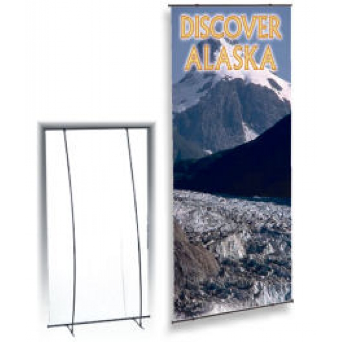 "Portable Display Stand for 36"" x 90"" Banners, with Case (Black)"