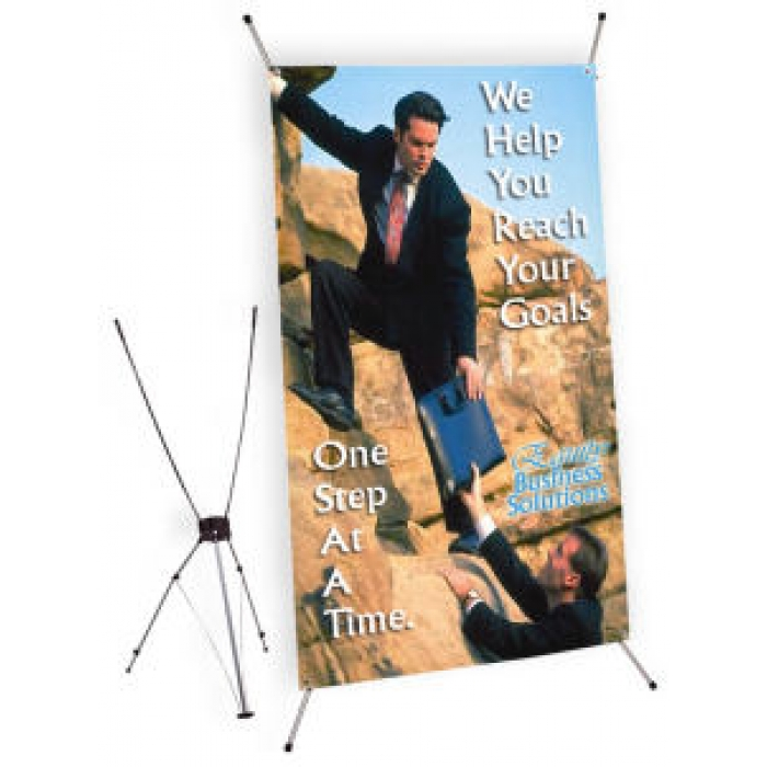 "Jumbo Tripod X-Banner Display for 47.25"" x 78.25"" Banners (Silver)"