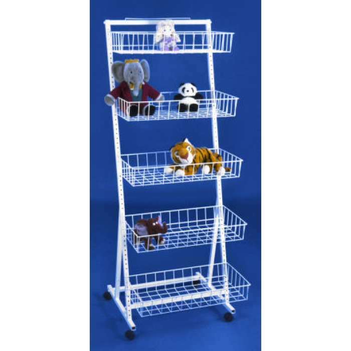 Tiered 5-Basket Versa-Rack Merchandiser Floor Display with Casters