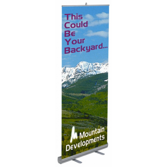 "Economy Retractable Banner Stand for 33.5"" x 78.5"" Banners (Single Banner)"