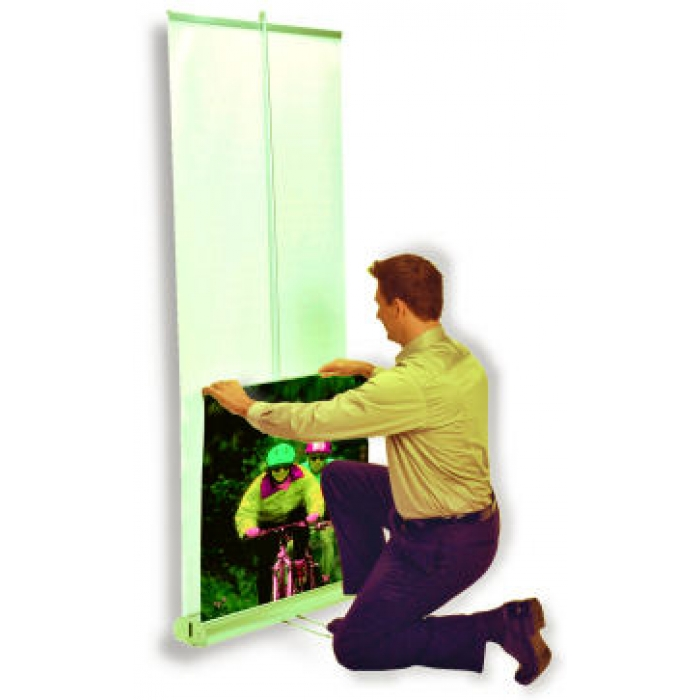 "Retractable Rollup Display Stand for 48"" x 77.5"" Banners (Double Banner)"