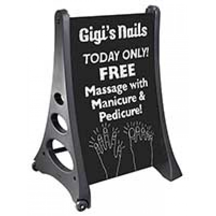 Simulated Chalkboard A-Frame with White Wash-Off Markers