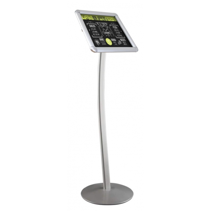 """Curved Floor Stand, Snap Frame, 11"""" x 17"""" Poster Size, Silver, 1"""" Profile, Round Corners"""