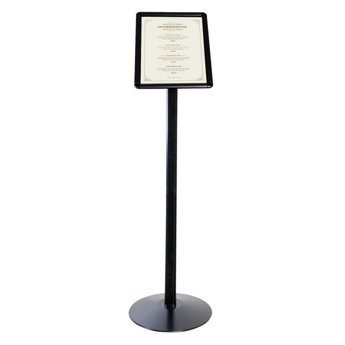 """Curved Floor Stand, Snap Frame, 8.5"""" x 11"""" Poster Size, Black, 1"""" Profile, Round Corners"""