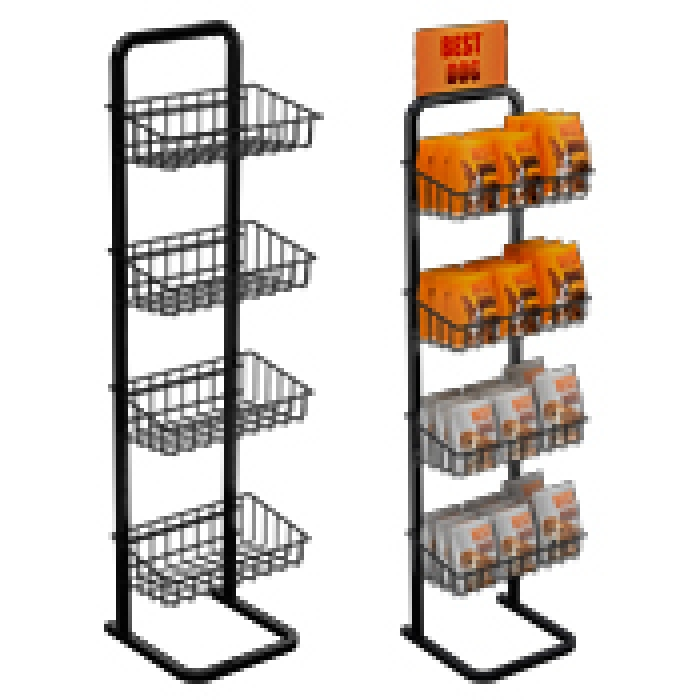 4 Basket Single Sided Marvelous Merchandiser Floor Display