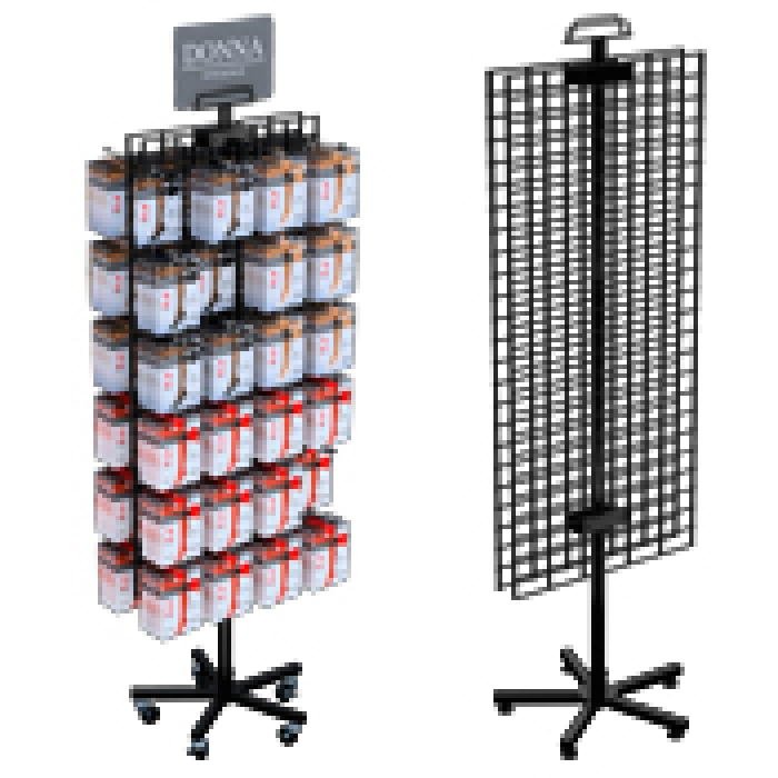 "Double-Sided 48"" x 21"" Wire Grid Panel Floor Spinner Display"