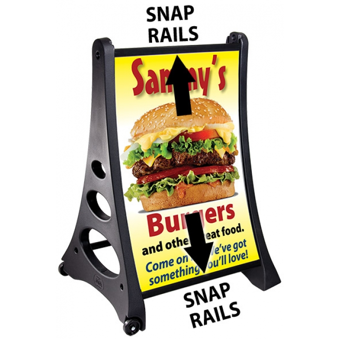 "Grip-It Snap-Rail Quick Loading Sidewalk Sign for 24"" x 36"" Posters"