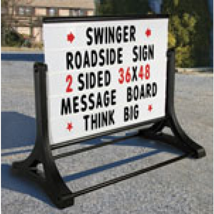 Roadside Swinger Message Sign with Changeable Letters (White)