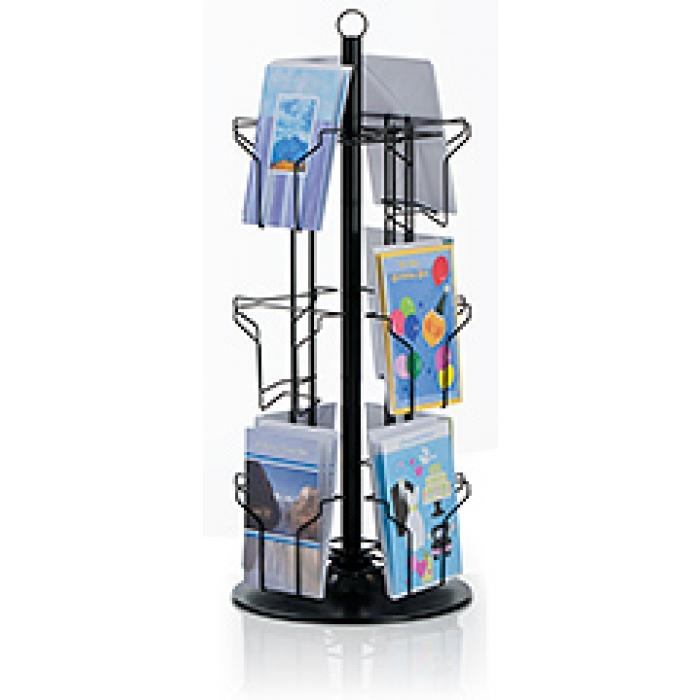 12-Pocket Countertop Greeting Card Display Spinner Rack (Black)
