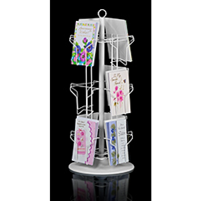 12-Pocket Countertop Greeting Card Display Spinner Rack (White)