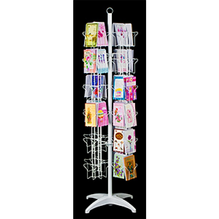 72-Pocket Floor Greeting Card Display Spinner Rack (White)