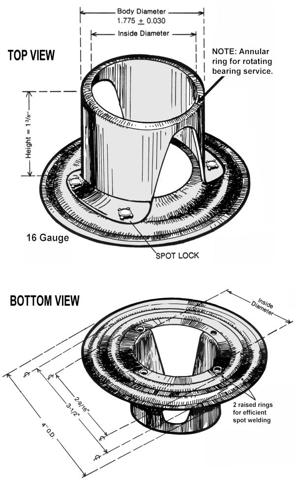Top & Bottom View of Flanged Tube